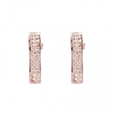 Rose Gold and Champagne Crystal Bar Stud Earrings