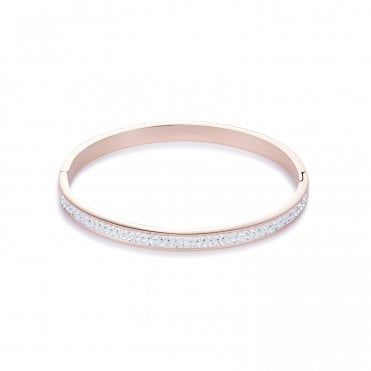 Rose Gold and Clear Crystal Bangle