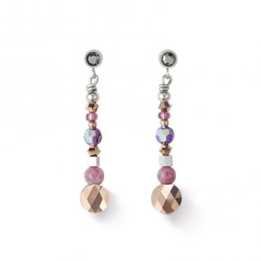 Rose Gold and Lepidolite Drop Earrings