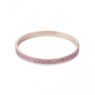 Rose Gold and Pink Crystal Bangle