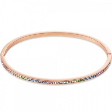 Rose Gold and Rainbow Crystal Bangle