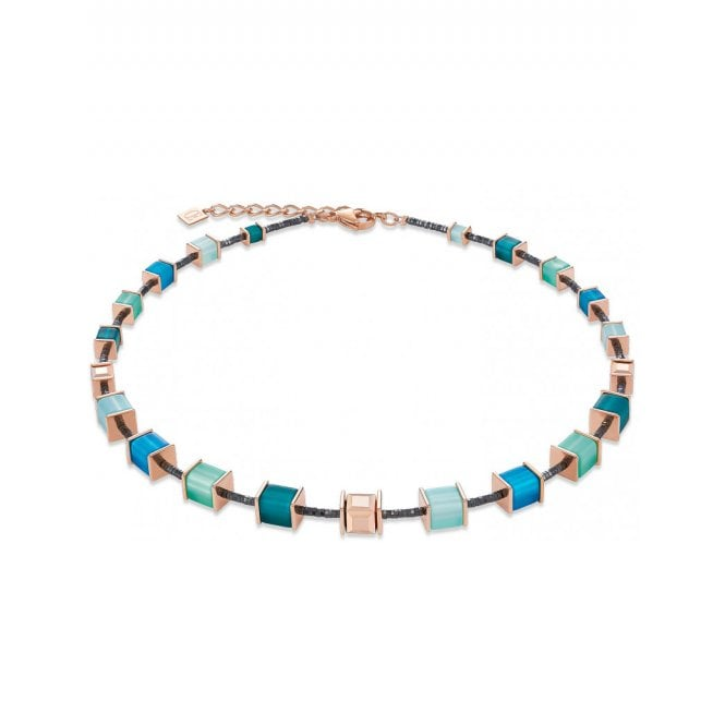 Coeur de Lion Shades of Green and Rose Gold Toned Crystal GeoCUBE Necklace