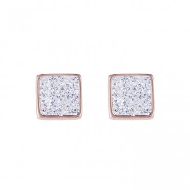 Square Pave Clear Stud Earrings