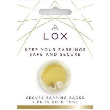 Lox Gold Tone Secure Earring Backs x2 Pairs