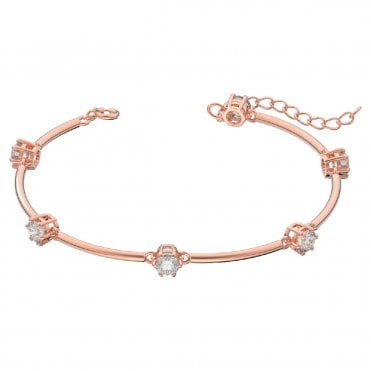 Constella bangle, White, Rose-gold tone plated