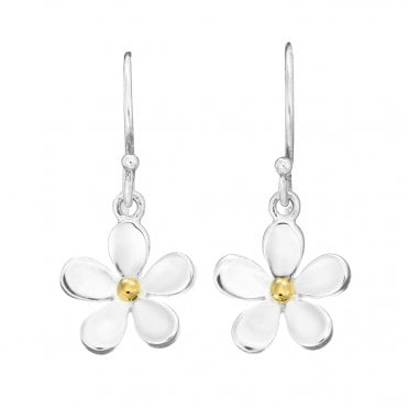 Silver & Gold 11mm Closed Petal Drop Earrings