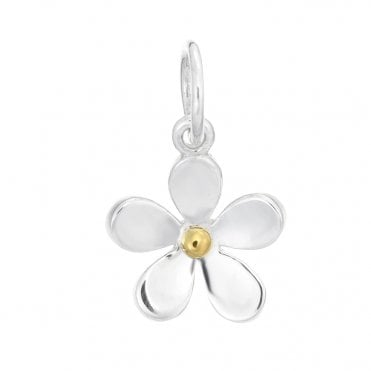 Silver & Gold 11mm Closed Petal Pendant Necklace