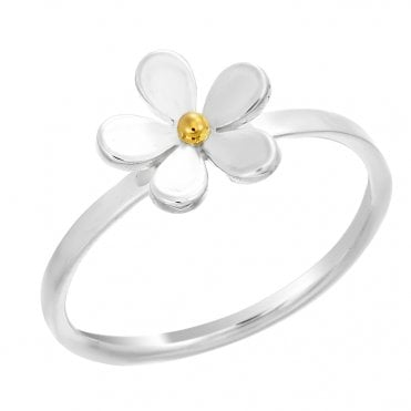 Silver & Gold 11mm Closed Petal Ring, Size N