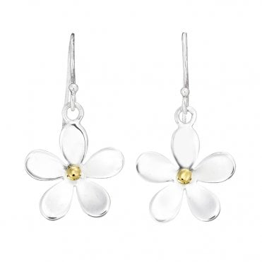 Silver & Gold 15mm Closed Petal Drop Earrings