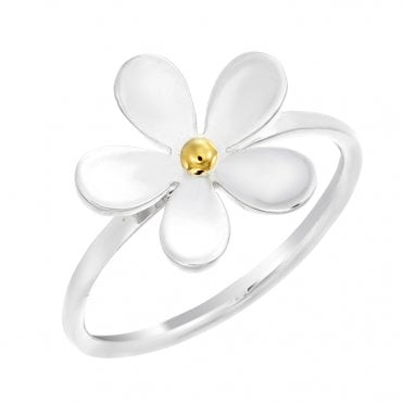 Silver & Gold 15mm Closed Petal Ring, Size L