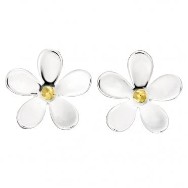 Silver & Gold 15mm Closed Petal Stud Earrings