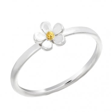 Silver & Gold 7.5mm Closed Petal Ring, Size L