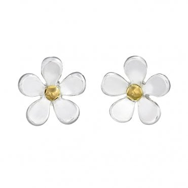 Silver & Gold 7.5mm Closed Petal Stud Earrings