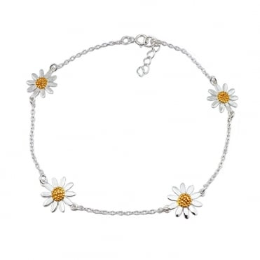 Silver & Gold Four Flower Chain Bracelet
