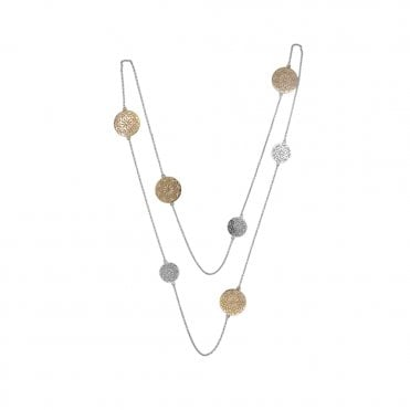 Dreamcatcher Multi Disc Silver and Rose Gold Necklace