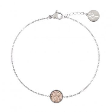 Estelle Bracelet in Steel with Rose Pink Druzy Stone