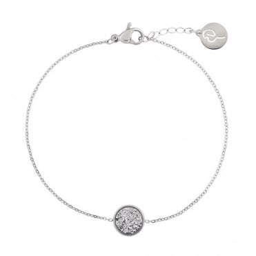 Estelle Bracelet in Steel with Silver Druzy Stone