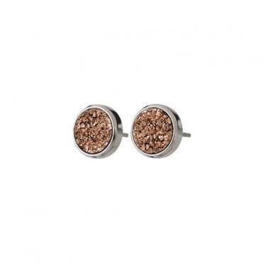 Estelle Studs in Steel with Rose Pink Druzy Stone