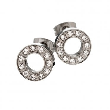 Eternity Steel and CZ Circle Stud Earrings