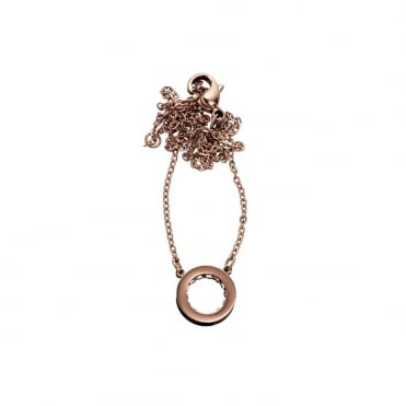 Monaco Rose Gold and CZ Short Pendant Necklace