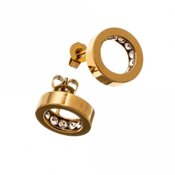 Edblad Monaco Yellow Gold and CZ Stud Earrings