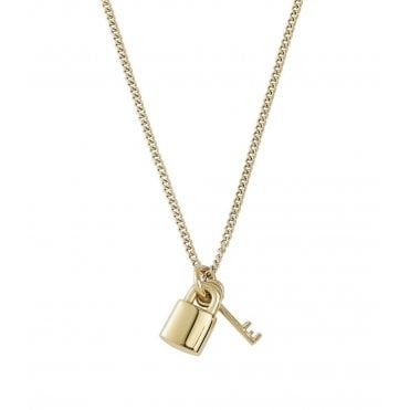 Secure Gold Padlock Necklace