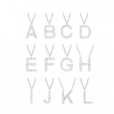 Steel and CZ Letter Necklace - C