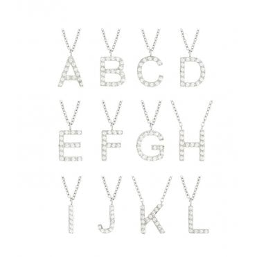 Steel and CZ Letter Necklace - E