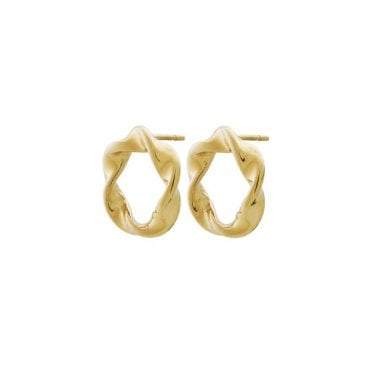 Twister Swirl Stud Earrings in Gold Plated Steel