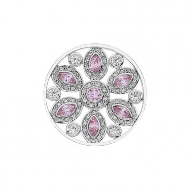 Girasole Floral Silver & Pink CZ Coin 33mm