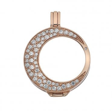 Mezzaluna Rose Gold & White CZ Pave Coin Keeper 25mm