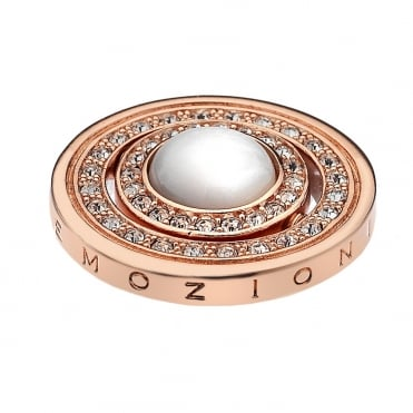 Quattro Innocence & Healing Rose Gold White & Turquoise CZ Coin 25mm