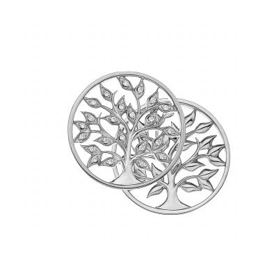 Reversible Silver and White CZ Balance and Harmony Tree of Life Coin - 33mm