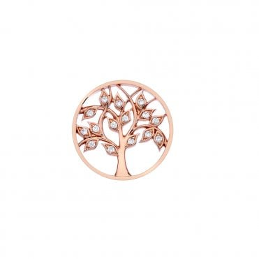 Rose Gold and Clear CZ Balance and Harmony Tree of Life Coin - 25mm
