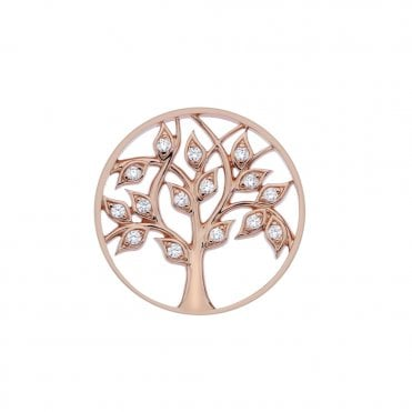 Rose Gold and Clear CZ Balance and Harmony Tree of Life Coin - 33mm