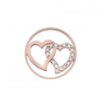 Rose Gold and Clear CZ Companionship Coin - 33mm