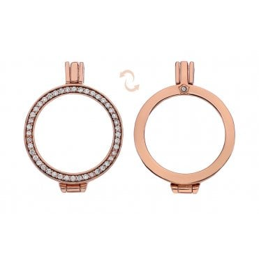 Rose Gold and White CZ Reversible Coin Keeper - 25mm