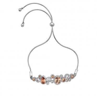 Silver and Champagne CZ Spirito Libero Purity and Loyalty Bracelet
