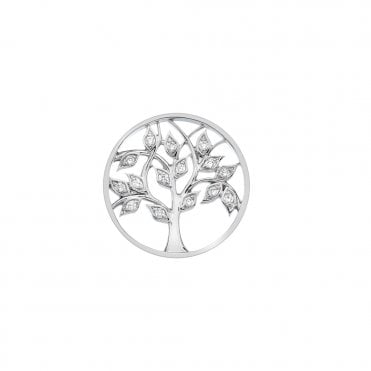 Silver and Clear CZ Balance and Harmony Tree of Life Coin - 25mm