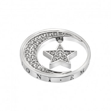 Silver and CZ Notturno Hanging Star and Moon Coin - 25mm