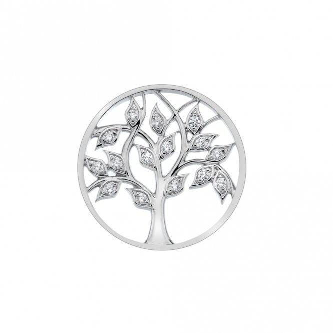Emozioni Silver and White CZ Balance and Harmony Tree of Life Coin - 33mm