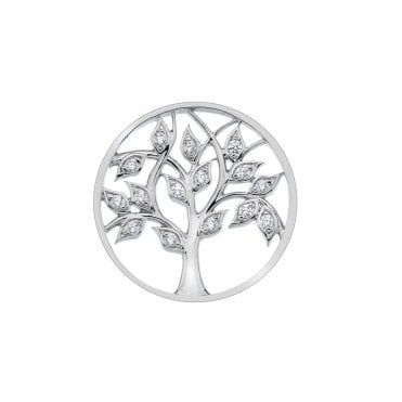 Silver and White CZ Balance and Harmony Tree of Life Coin - 33mm