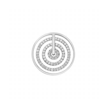 Silver and White CZ Entro Coin 33MM