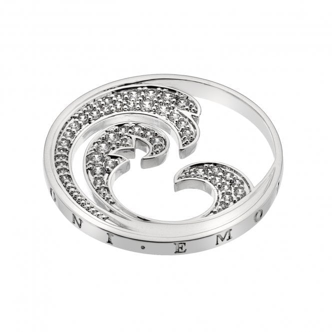 Emozioni Silver and White CZ Oceano Coin 25MM