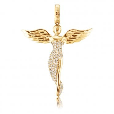 My Guardian Angel Gold Plated Silver and CZ Necklace