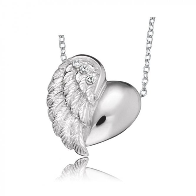 Engelsrufer Silver and CZ Angel Heart Wing Pendant