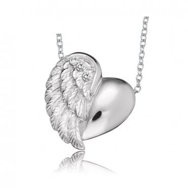 Silver and CZ Angel Heart Wing Pendant