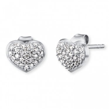 Silver and CZ Heart Stud Earrings