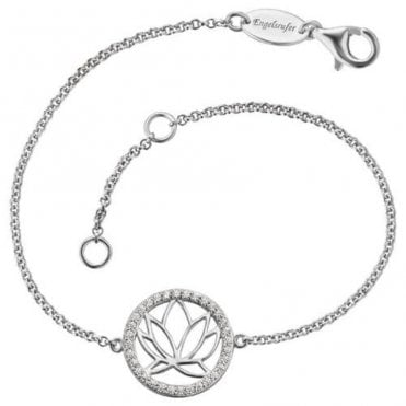 Silver and CZ Lotus Flower Bracelet