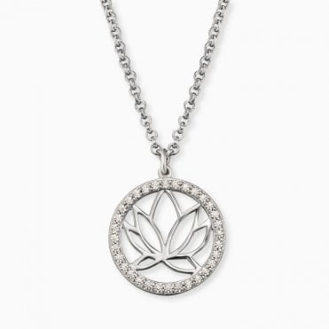 Silver and CZ Lotus Flower Necklace